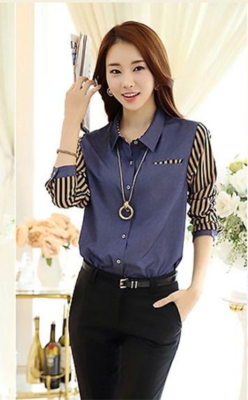 韩版条纹衬衫